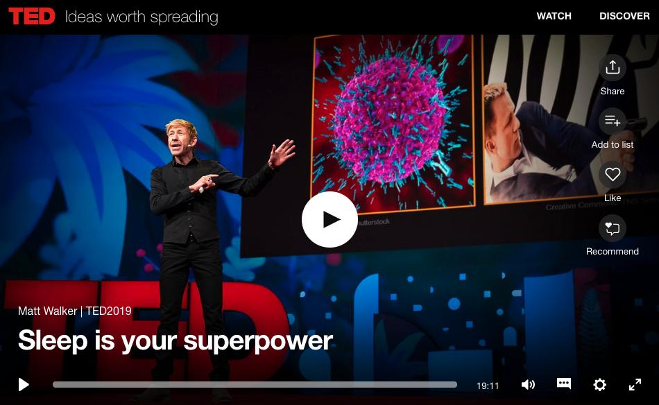 TED Talk on Sleep Issues & Importance of Sleep