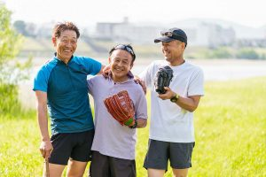 Three men with baseball gloves feeling more energy because of testosterone replacement therapy